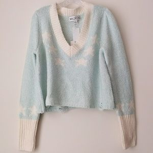 Wildfox   Aces Star Print Long Sleeve Pullover M